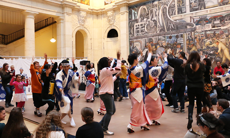 Dance Awa-Odori together with Kiku-no-kai dancers at Rivera Court